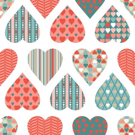 day valentine's day: seamless pattern of Valentine s Day in retro style  Illustration