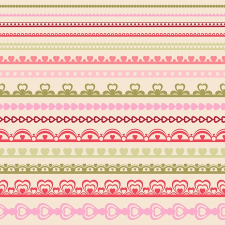 Set of hand drawn lace paper punch borders  Illustration