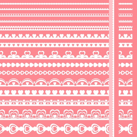 lace edges: Set of hand drawn lace paper punch borders  Illustration