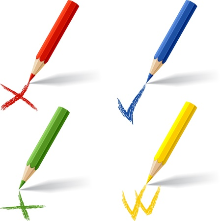 Collection of colored pencils on white background  Stock Vector - 16841655