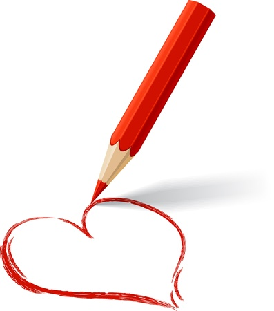pencil symbol: Background with colored pencil  drawn heart  Illustration