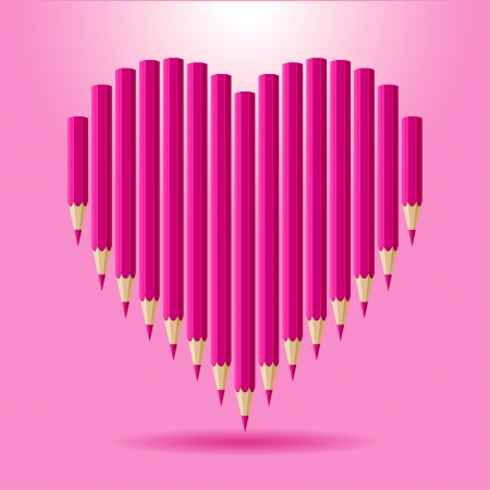 Heart of pink pencils  background Valentine s Day  Vector