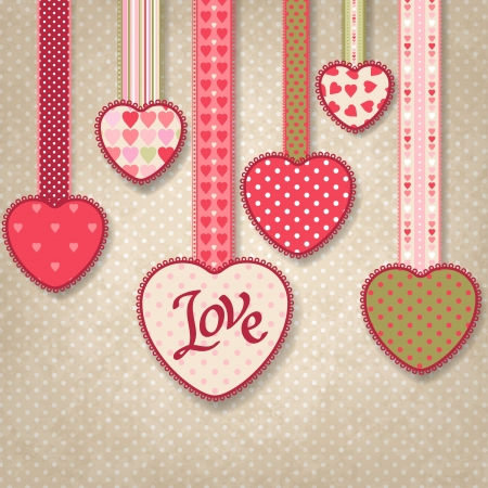 free vintage background: Retro background of vintage design with hearts