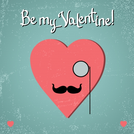 old man beard: Valentine card with glasses, heart and mustache