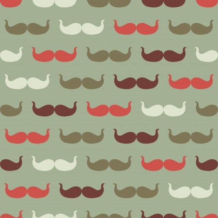 Vintage seamless pattern with mustache, vector illustration