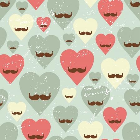bigote: Valentine seamless pattern con el corazón y bigote