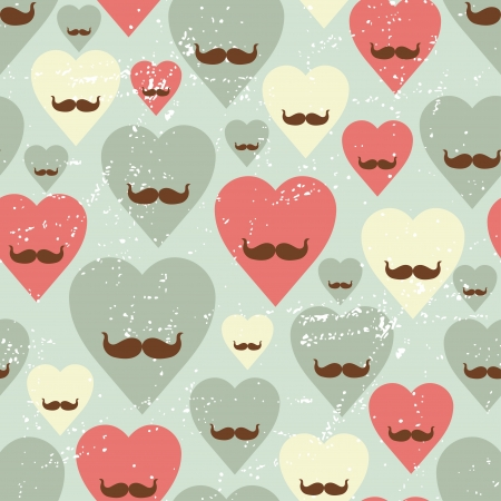 moustaches: Valentine seamless pattern with heart and mustache