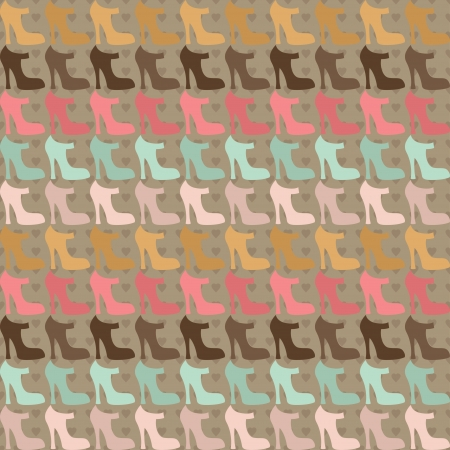 sem costura: Seamless pattern with shoes in retro style