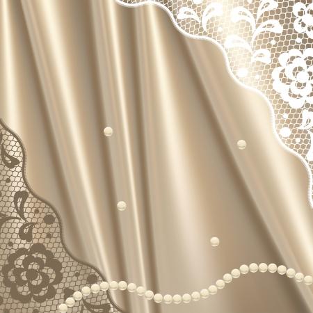 perlas: Vintage Encaje de flores ornamentales, fondo de tarjetas de invitaci�n. Vectores