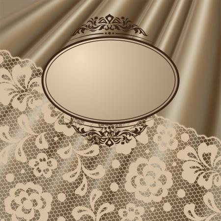 satiny: Vintage lace background ornamental flowers, invitation card.
