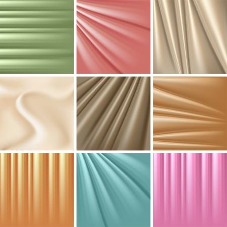 satiny cloth: Set of 9 satin backgrounds  illustration  Illustration