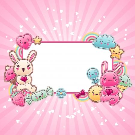 bunny cartoon: Cute child background with kawaii doodles  Illustration