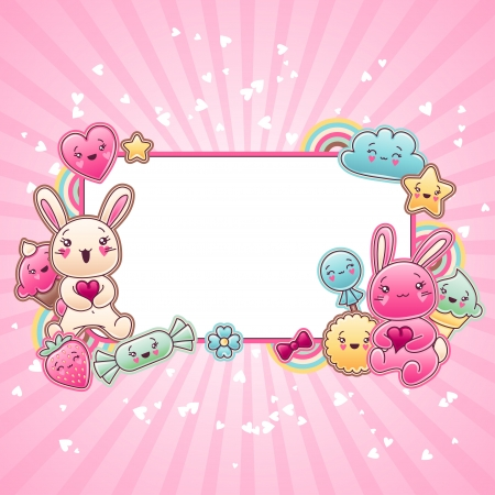 conejo caricatura: Fondo niño lindo con garabatos kawaii Vectores