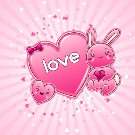 Cute child background with kawaii doodles  Vector