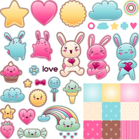 Set of decorative design elements with kawaii doodles  Illustration