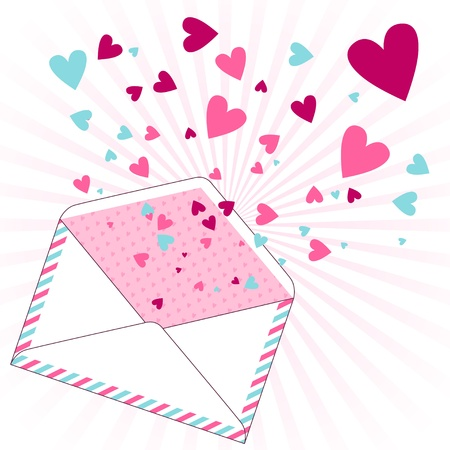 Background with hearts flying out of the envelope Stock Vector - 16933452