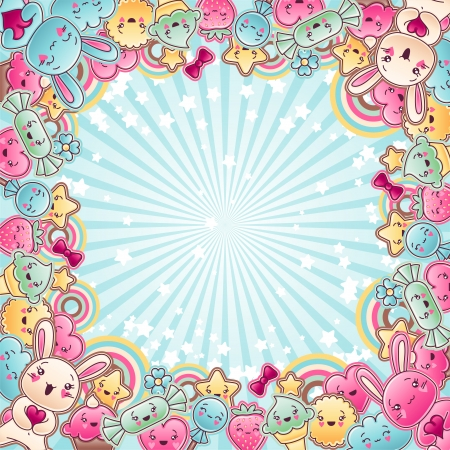 birthday backdrop: Cute child background with kawaii doodles  Illustration