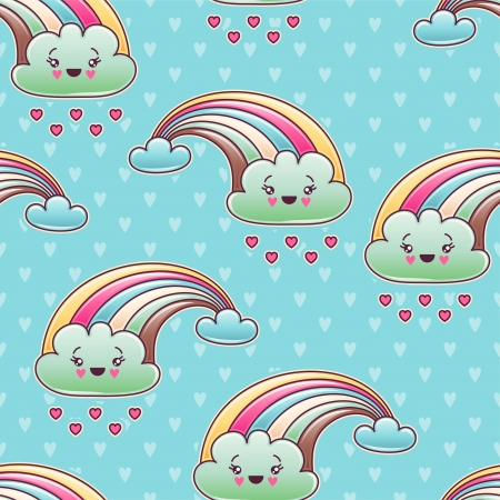 kawaii: Seamless kawaii child pattern with cute doodles  Illustration