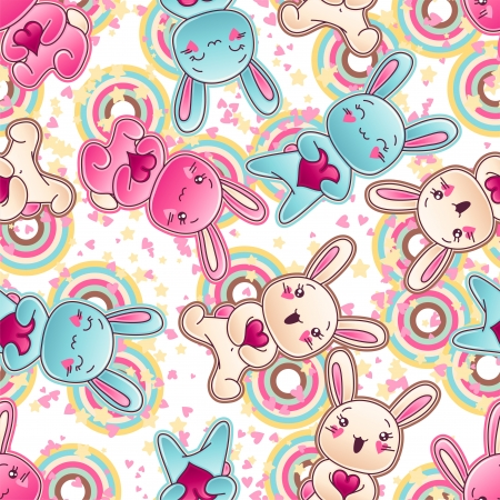 Seamless kawaii child pattern with cute doodles Stock Vector - 16933443