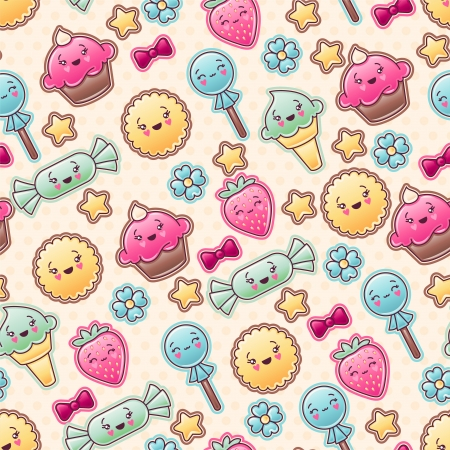 Seamless kawaii child pattern with cute doodles Stock Vector - 16933448