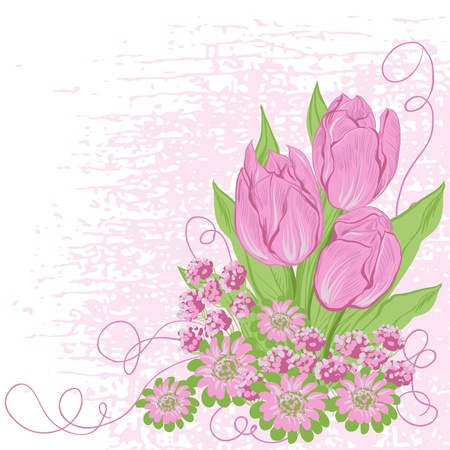 Design card  of vector tulips   Flower background  Vector