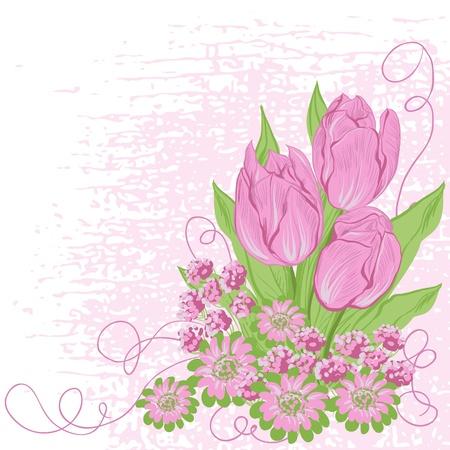 Design card  of vector tulips   Flower background Stock Vector - 16948288