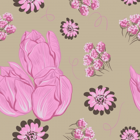 Vector illustration of tulips   Seamless flowers pattern  Stock Vector - 16948286