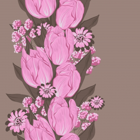 Vector illustration of tulips   Seamless flowers pattern Stock Vector - 16948295
