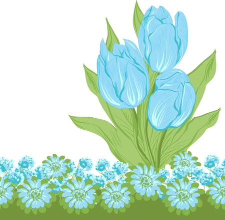 Design of vector tulips   Flower background  Vector