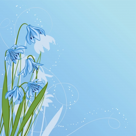 Pastel background with blue snowdrop Stock Vector - 16952135