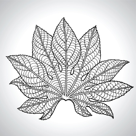 tilia cordata: Vector Illustration Of Black Leaf