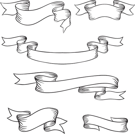 scroll shape: Set of retro ribbons and labels  Vector illustration