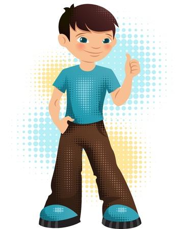 successful student: Illustrazione di un felice giovane ragazzo adolescente