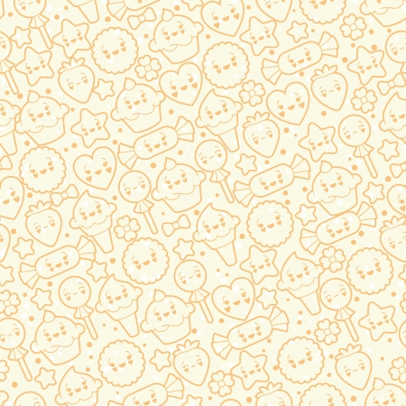 Seamless kawaii pattern with cute cakes   Vector