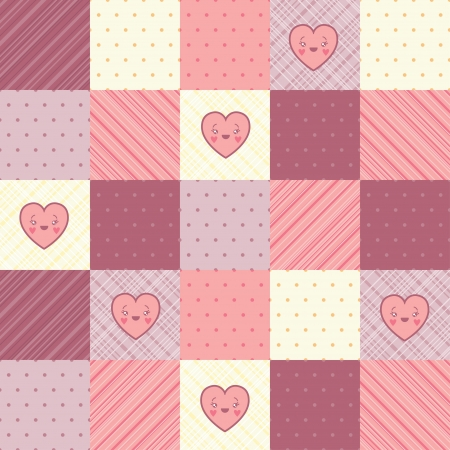 homespun: Retro background of vintage design with hearts