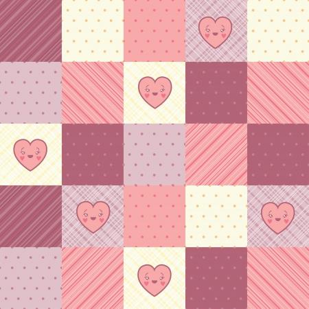applique flower: Retro background of vintage design with hearts