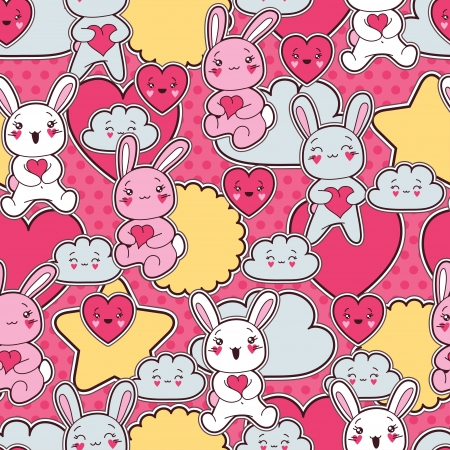 Seamless kawaii child pattern with cute doodles Stock Vector - 16992150
