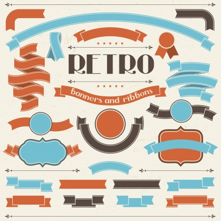 Collection of labels and ribbons in retro vintage style  Illustration