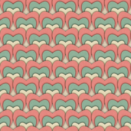 Seamless retro pattern of Valentine s hearts on paper texture  photo