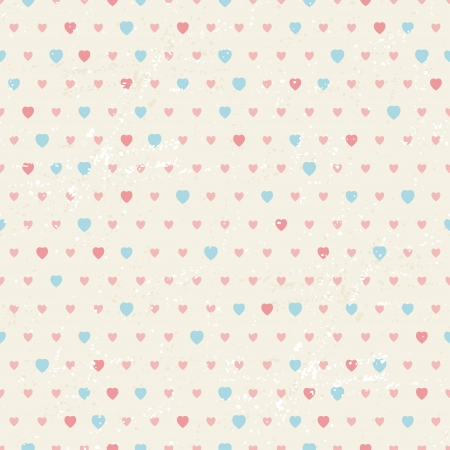 Seamless retro pattern of Valentine s hearts  Vector