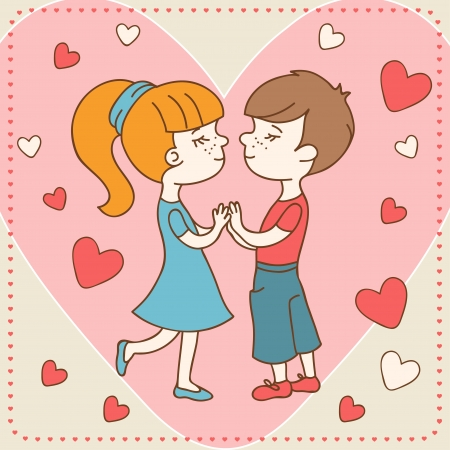 Vintage Valentine s day card of boy kisses girl Stock Vector - 17215502