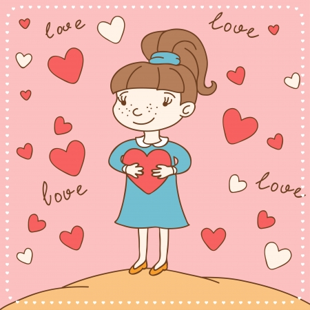 Vintage Valentine s day card of girl with heart  Vector