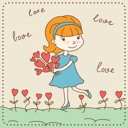 Vintage Valentine s day card of girl with hearts  Vector
