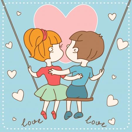 Tarjeta del día de San Valentín Vintage s de chico y chica enamorados