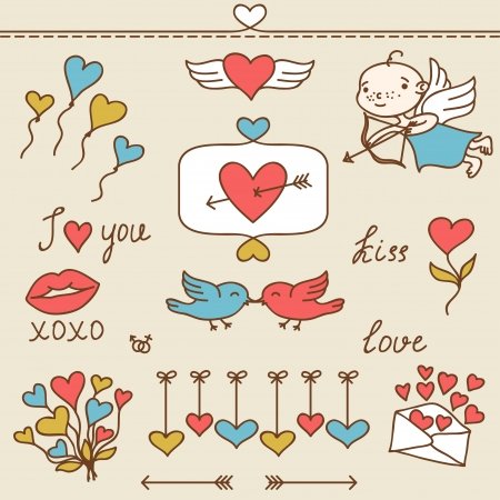 Set of Valentine s cute doodles and design elements  Vector