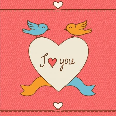 Valentine s d�as postal de amor con garabatos dibujados a mano