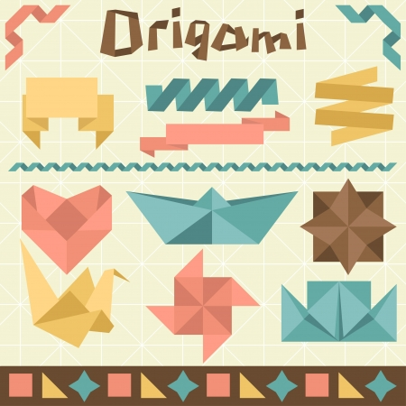 paper arts and crafts: Retro origami set with design elements  Illustration