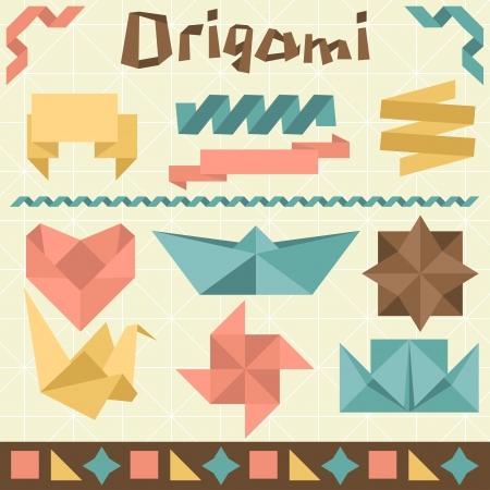 crane bird: Retro origami set with design elements  Illustration