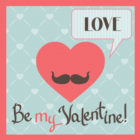 Vintage Valentines Day greeting card with heart and mustache