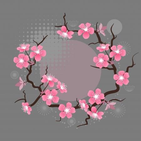 kersenboom: Kaart met gestileerde kersenbloesem bloemen Stock Illustratie